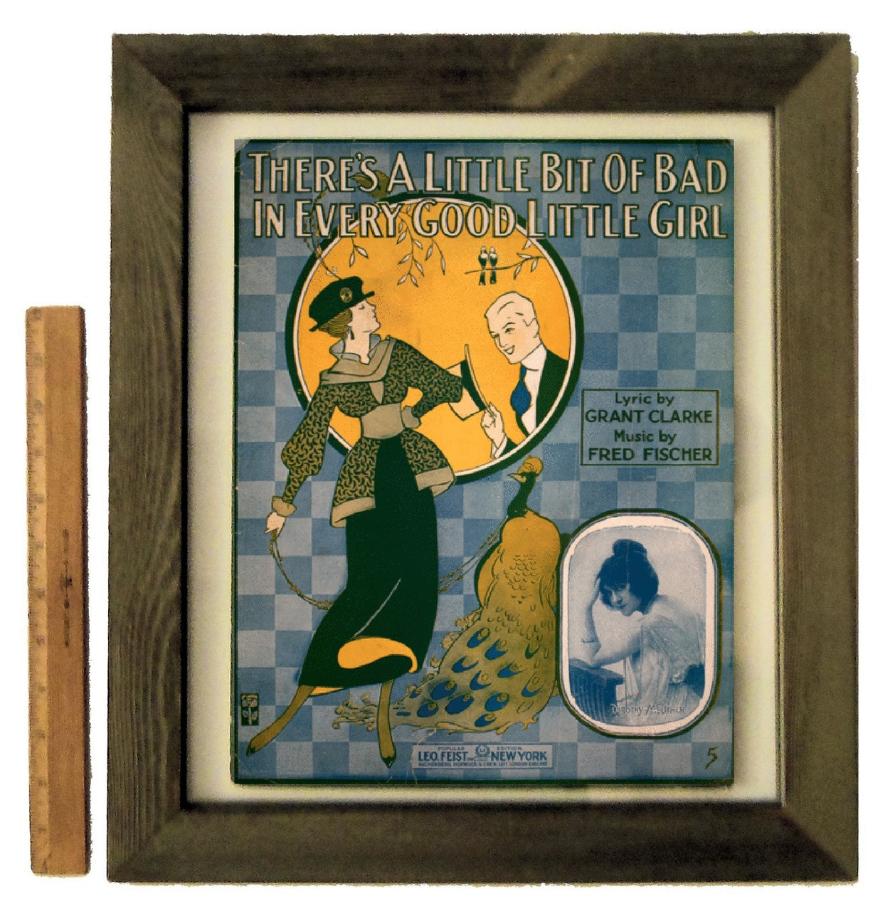 """There's a Little Bit of Bad in Every Good Little Girl"" by Fred Fischer, framed vintage sheet music"