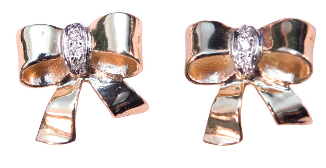 Bow Earrings-18K gold with diamonds