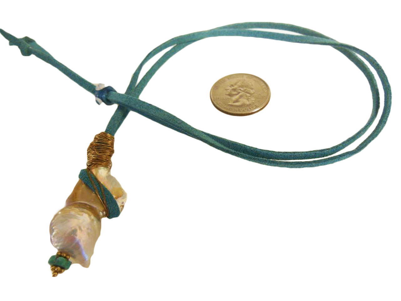 Throwaway Elegance and a Little Bit of WOW!!!  Jumbo Pearl-05 on Teal Suede Cord