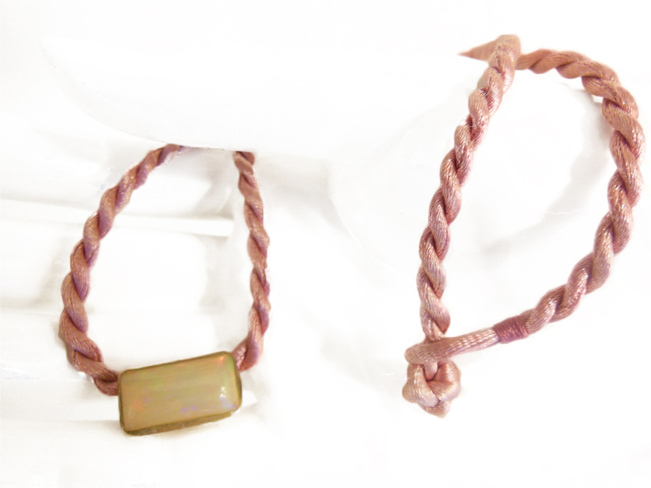 Ethiopian Opal on rose pink cord (changeable)