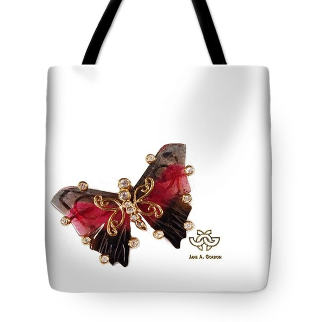 Watermelon Tourmaline Butterfly. Art meets fashion tote bag