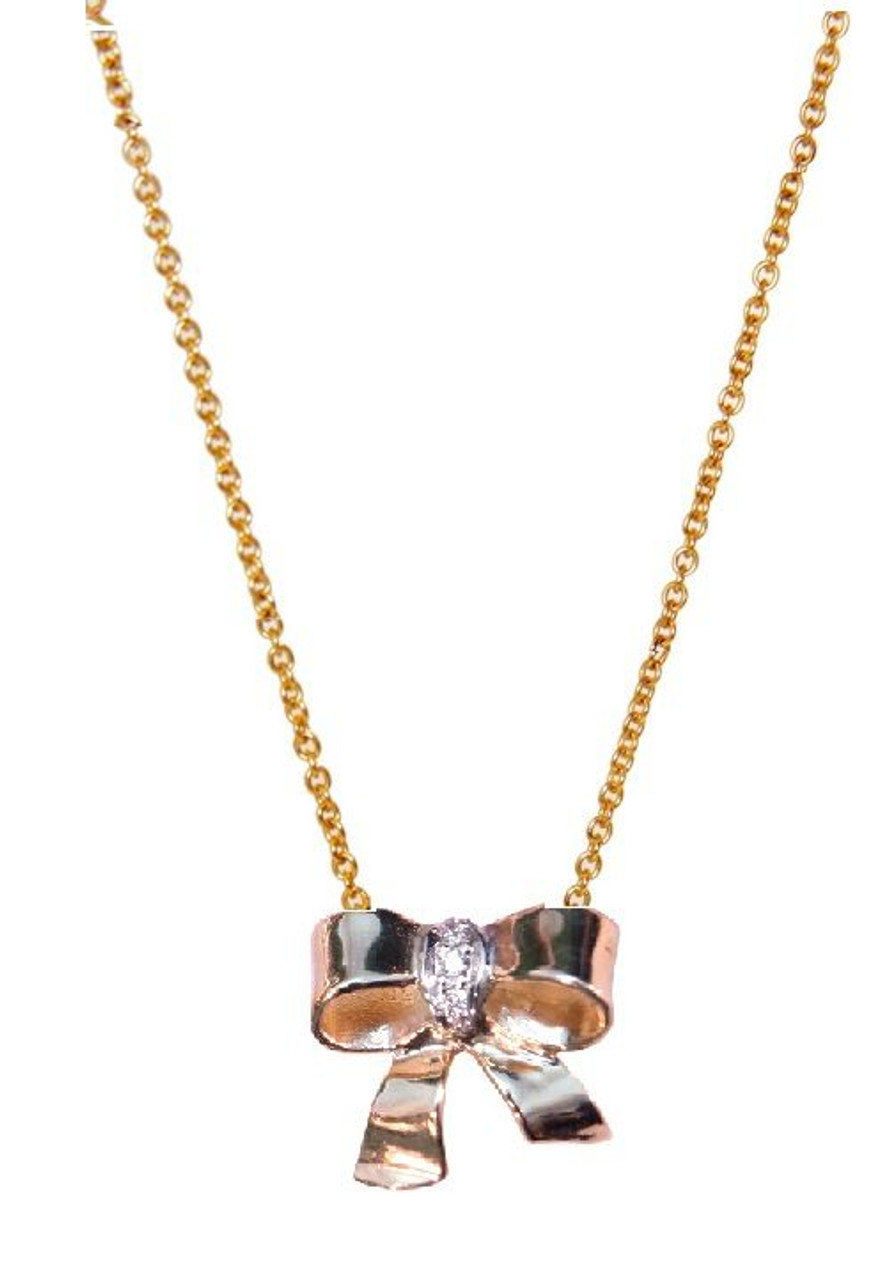 Bow Necklace-14K gold with diamonds on simple chain