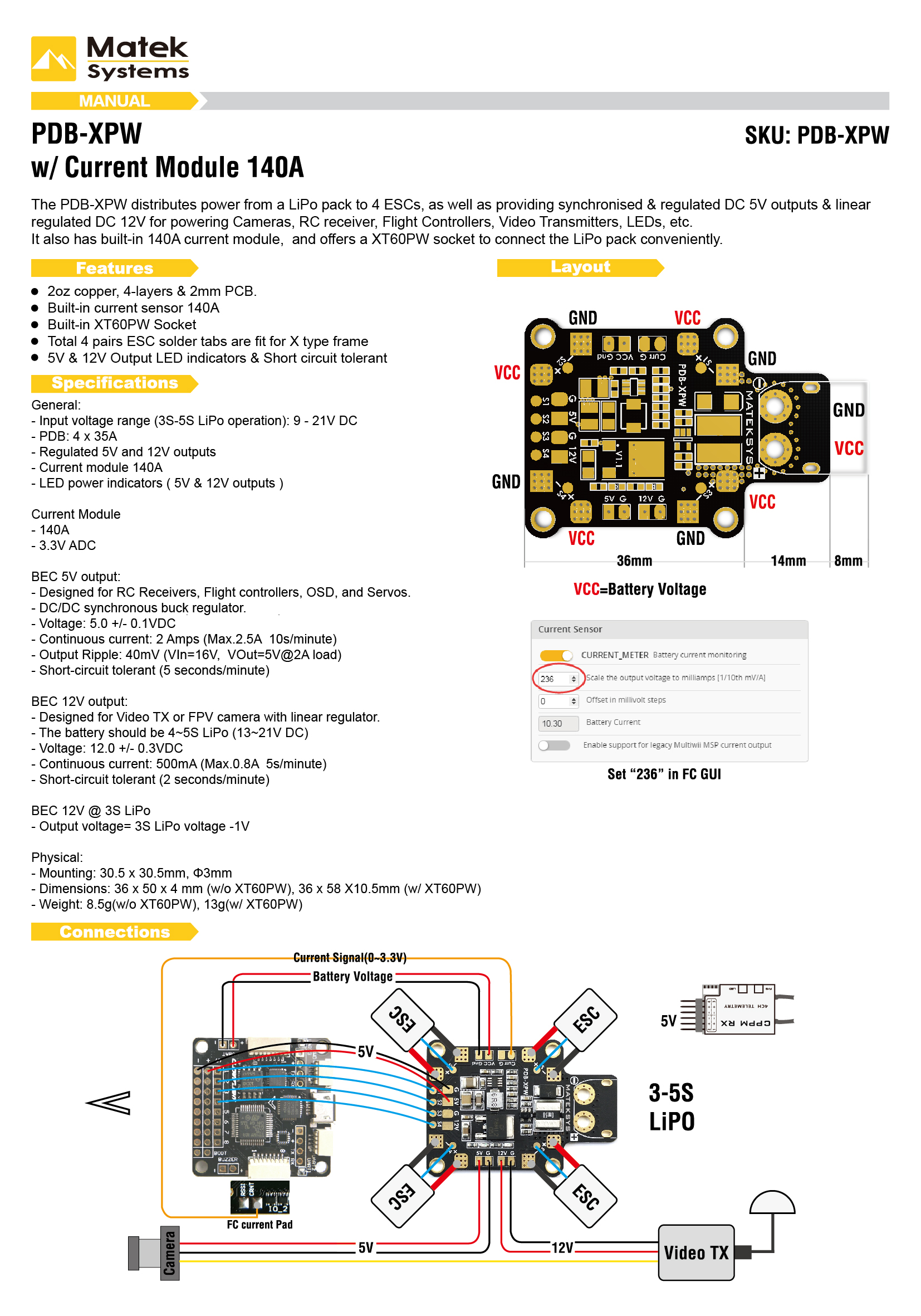 Diagram Wiring To Cc3d Pdb Xpw 30 Images Bluetooth Manualt1490673007 Matek W Current Sensor 140a 5v 12v