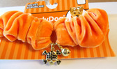 Orange Velvet Neck Collar Scrunchie Dog Pet S 8-10' NWT
