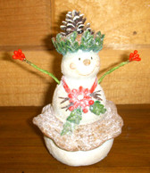 Snowman Wooden Resin Skirt Poinsettia Holiday Home Decor 4' NeW