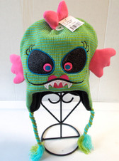 Green Pink Monster Stocking Hat Childs OSFM NWT
