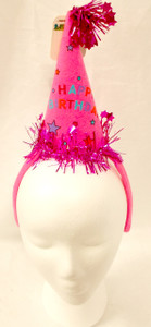Happy Birthday Hot Pink Princess Cone Hat Birthday Party Headband NWT