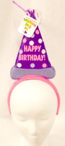 Happy Birthday Purple Pink Cone Hat Birthday Party Headband NWT