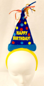 Happy Birthday Yellow Blue Cone Hat Birthday Party Headband NWT
