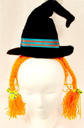 Black Witch Hat Orange Braids Halloween Party Headband NWT