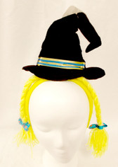 Black Witch Hat Yellow Braids Halloween Party Headband NWT