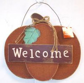 Primitive Burlap Pumpkin Welcome Wood Wall Hanging Sign Halloween Decor 11' NWT