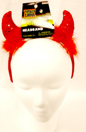 "Sequined Devil Headband Horn Horns Costume Accessory 14"" NIP"