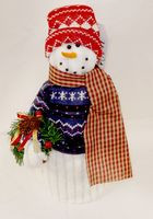 "Fleece Snowman Wearing Blue Sweater Wreath Decor 15""NWT"