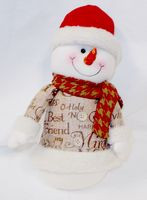 "Snowman Red Hat Burlap Sweater Red Scarf Winter Decor 13"" NWT"