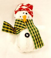 "Fleece Snowman Ornament Red Hat Christmas Winter Decor 7"" NWT"