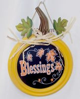 "Blessings Wood Metal Round Wall Hanging Sign 13"" NWT"