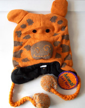 "Giraffe Orange Brown Animal Knit Fleece 16"" Hat Child Costume Hat 5-8 NWT"