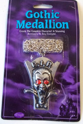 Gothic Medallion Silver Tombstone Necklace Jewelry Halloween Accessory NIP