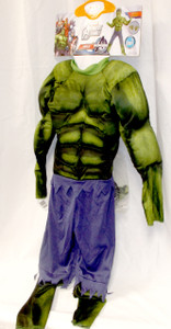 The Incredible Hulk Muscle Child Costume Mask Hands  7-8 NWT