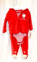 Baby's First Christmas Fleece Jacket Pants Striped One-piece Outfit 0-3 3-6 Months NWT