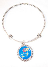 "KU Kansas University Jayhawks Wire Memory Wrap Bangle Silver Bracelet 7.5"" NWT"