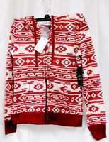 Almost Famous Faux Shera Trim Printed Hoodie Burgundy M NWT