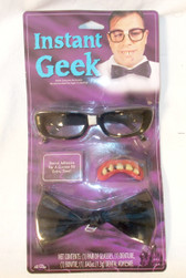 Fun World Black Instant Geek Costume Adult OSFM NIP