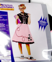 California Costume 50's Sweetheart Poodle Costume Dress Pink Black Child  L XL NIP
