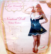 California Costumes Navy Blue White Gold Nautical Doll Costume Dress Adult M L NIP