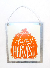 Silver Orange Cream Hanging Happy Harvest Pumpkin Metal Halloween Fall Decor Sign  5in NIP