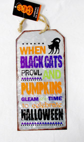ShopKo Orange Purple Metal When Black Cats Prowl Pumpkins Gleam Time Celebrate Halloween Decor Sign 10in NIP