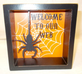 Black Orange White Halloween Welcome To Our Web Sign 6in x 6in NIP