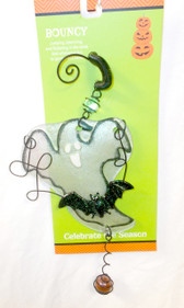 ShopKo White Black Bouncy Ghost Suncatcher Halloween Ornament 13in NIP