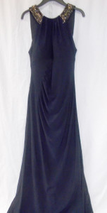 Xscape Navy Women's Ruched Beaded Sequin Sheath Dress Blue 10 NWT