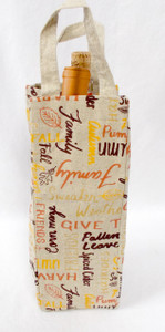 Kohl's Celebrate Fall Tan Wine Cover With Fall Words Halloween Decoration Gift 16' NWT