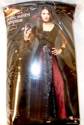 Fun World Black Burgundy Gothic Maiden Vampiress Costume Dress SM ML NIP