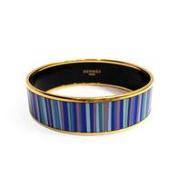 Hermès Blue Striped Bangle