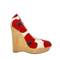 YSL Poppy-Print Wedge