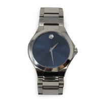 Movado Silver and Blue Watch