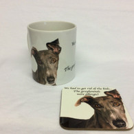 """""""We had to get rid of the kids...The Greyhounds were allergic"""" Mug & Coaster Set"""