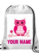 Personalised Cute Owl Gym, PE, Sports, Swim, School, Dance Bag Girls with Name