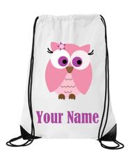 Cute Purple Eyes Owl Personalised Sports/School/Gym Bag