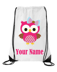 Cute Pink Owl Personalised Sports/School/Gym Bag