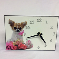 Chihuahua Flower Offset Rectangular Clock - Can be Personalised with Own Image