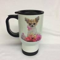 Chihuahua Design Chihuahua and Flower White Thermal Mug