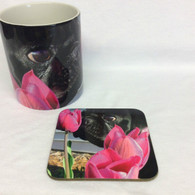 Pug with Pink Flower Mug and Coaster Set
