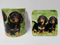Dachshund Smooth Haired Black Tan Puppies  Mug and Coaster Set