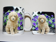 Toy Poodle Puppy with Purple Flowers Mug and Coaster Set