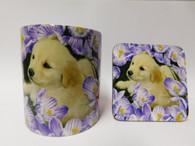 Golden Labrador Puppy  in Flowers Dog Mug and Coaster Set